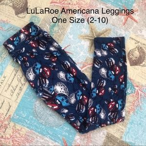 LuLaRoe Americana Balloons Blue Leggings One Size